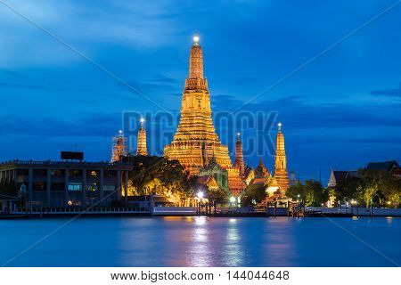 Atmosphere thai temple in night time, Bangkok