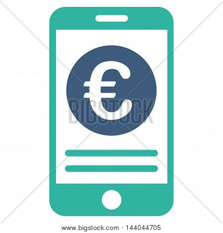 Euro Smartphone Banking icon. Glyph style is bicolor flat iconic symbol, cobalt and cyan colors, white background.