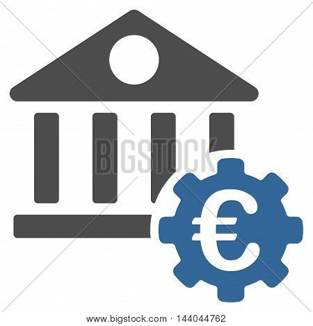 Euro Bank Building Options icon. Glyph style is bicolor flat iconic symbol, cobalt and gray colors, white background.