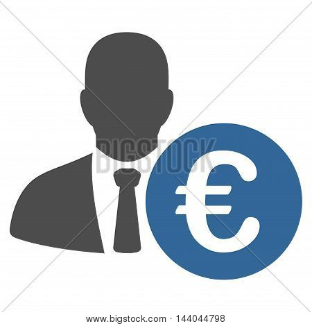 Euro Banker icon. Glyph style is bicolor flat iconic symbol, cobalt and gray colors, white background.
