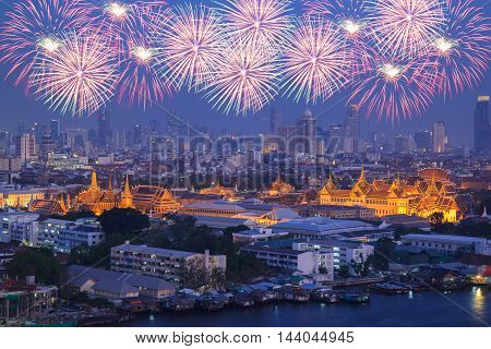 Grand palace at twilight with Colorful Fireworks (Bangkok Thailand)