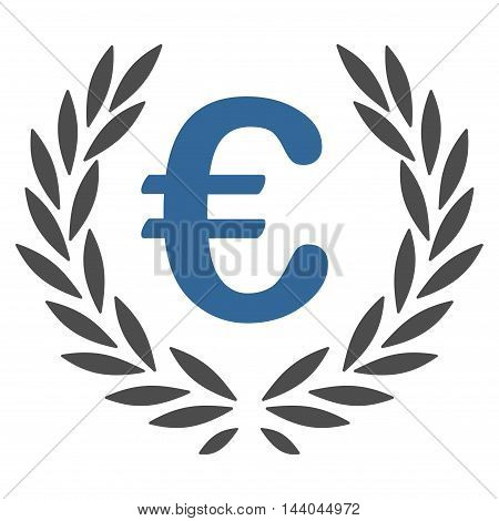 Euro Laurel Wreath icon. Glyph style is bicolor flat iconic symbol, cobalt and gray colors, white background.