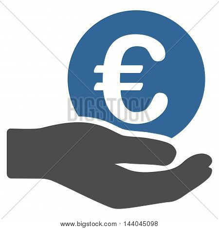 Euro Salary icon. Glyph style is bicolor flat iconic symbol, cobalt and gray colors, white background.