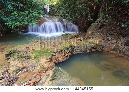 Beautiful little waterfall in forest at Chiang Mai Province