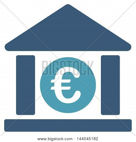 Euro Bank Building icon. Glyph style is bicolor flat iconic symbol, cyan and blue colors, white background.