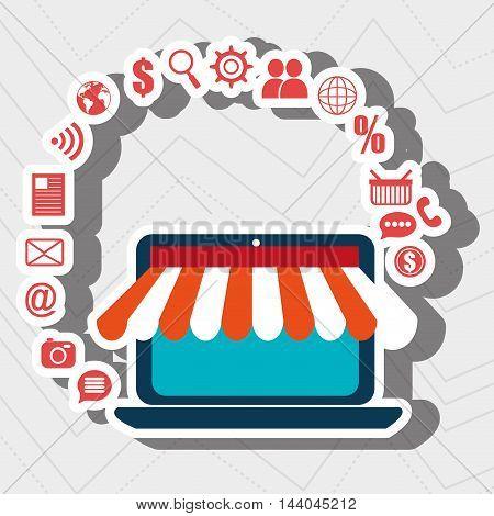 laptop e-commerce store buy vector illustration eps 10