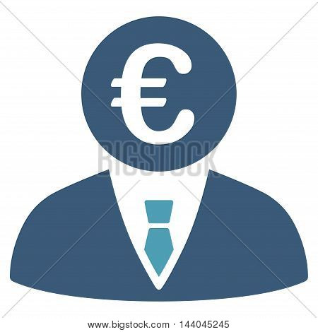 Euro Clerk icon. Glyph style is bicolor flat iconic symbol, cyan and blue colors, white background.