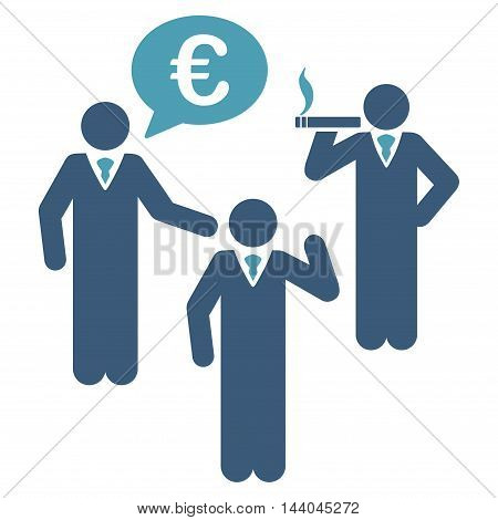 Euro Discuss People icon. Glyph style is bicolor flat iconic symbol, cyan and blue colors, white background.
