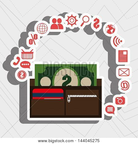 wallet bills money buy vector illustration eps 10
