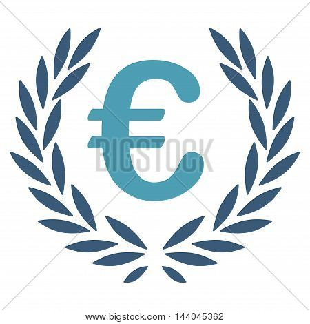 Euro Laurel Wreath icon. Glyph style is bicolor flat iconic symbol, cyan and blue colors, white background.