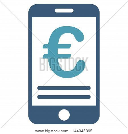 Euro Mobile Banking icon. Glyph style is bicolor flat iconic symbol, cyan and blue colors, white background.