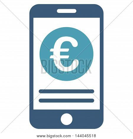 Euro Smartphone Banking icon. Glyph style is bicolor flat iconic symbol, cyan and blue colors, white background.