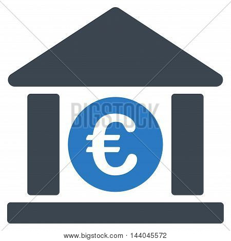 Euro Bank Building icon. Glyph style is bicolor flat iconic symbol, smooth blue colors, white background.