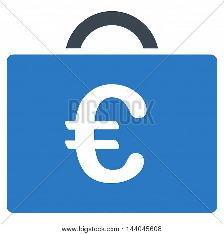Euro Bookkeeping Case icon. Glyph style is bicolor flat iconic symbol, smooth blue colors, white background.