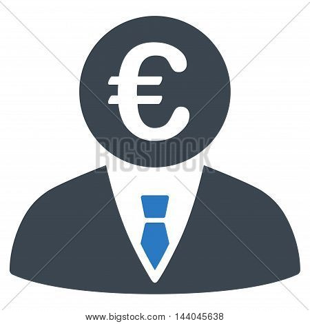Euro Clerk icon. Glyph style is bicolor flat iconic symbol, smooth blue colors, white background.