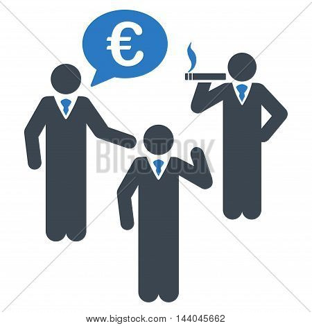 Euro Discuss People icon. Glyph style is bicolor flat iconic symbol, smooth blue colors, white background.