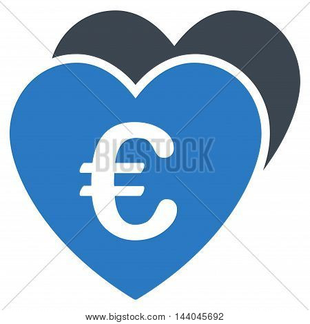 Euro Favorites Hearts icon. Glyph style is bicolor flat iconic symbol, smooth blue colors, white background.