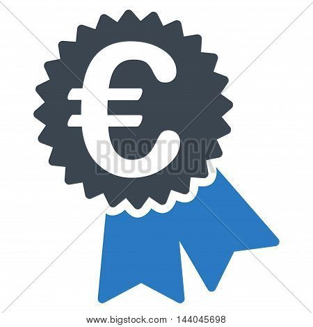 Euro Featured Price Tag icon. Glyph style is bicolor flat iconic symbol, smooth blue colors, white background.