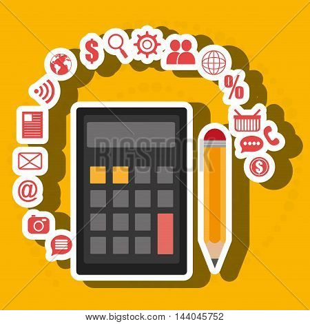calculator pencil buy shop vector illustration eps 10