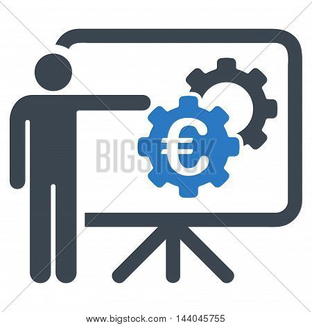 Euro Industrial Project Presentation icon. Glyph style is bicolor flat iconic symbol, smooth blue colors, white background.