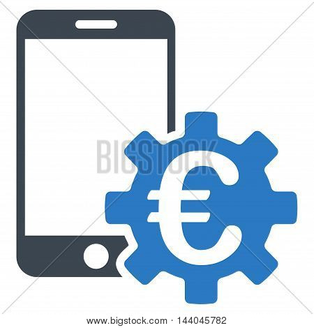 Euro Mobile Bank Configuration icon. Glyph style is bicolor flat iconic symbol, smooth blue colors, white background.