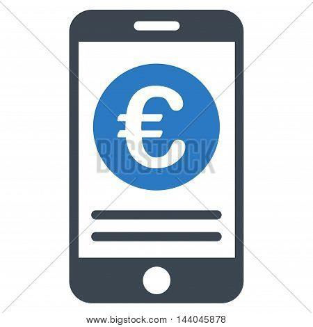 Euro Smartphone Banking icon. Glyph style is bicolor flat iconic symbol, smooth blue colors, white background.