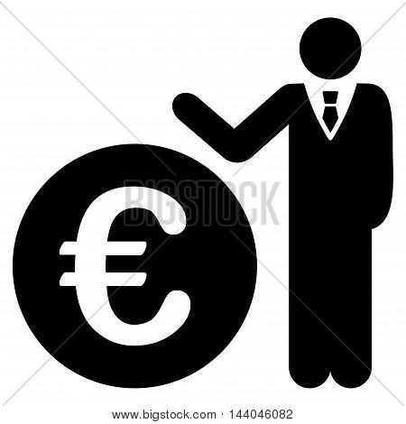 Euro Economist icon. Glyph style is flat iconic symbol, black color, white background.