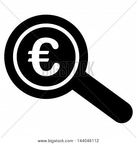 Euro Financial Audit icon. Glyph style is flat iconic symbol, black color, white background.