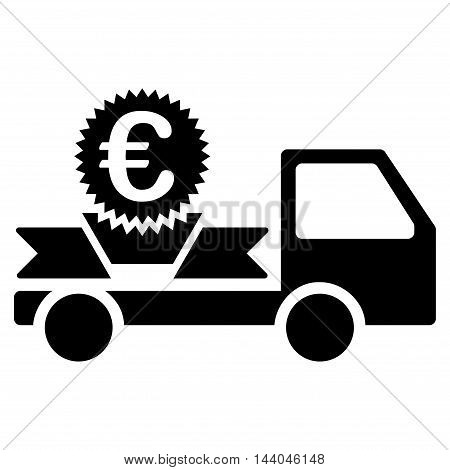 Euro Gift Delivery icon. Glyph style is flat iconic symbol, black color, white background.