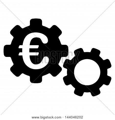 Euro Mechanics icon. Glyph style is flat iconic symbol, black color, white background.
