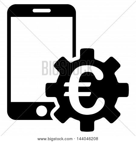 Euro Mobile Bank Configuration icon. Glyph style is flat iconic symbol, black color, white background.