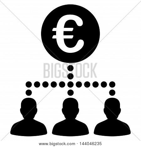 Euro Payment Clients icon. Glyph style is flat iconic symbol, black color, white background.