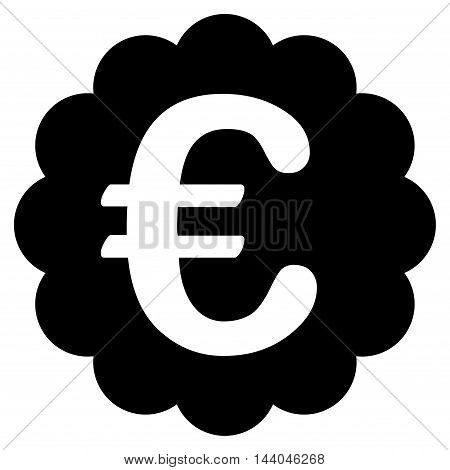 Euro Quality Seal icon. Glyph style is flat iconic symbol, black color, white background.