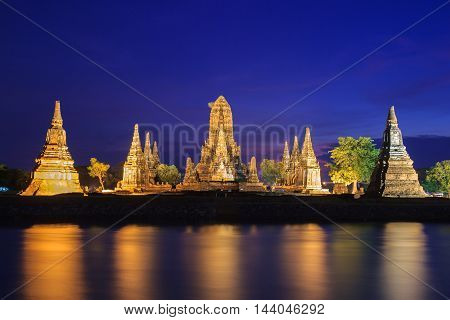 Old Temple wat Chaiwatthanaram of Ayutthaya Province ( Ayutthaya Historical Park ) Asia Thailand