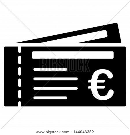 Euro Tickets icon. Glyph style is flat iconic symbol, black color, white background.