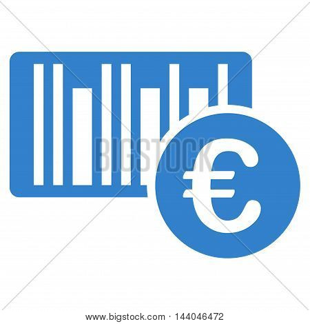 Euro Bar Code Price icon. Glyph style is flat iconic symbol, cobalt color, white background.