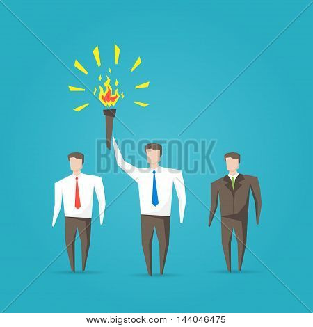 Businessman With Burning Torch Vector Illustration