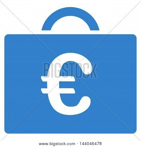 Euro Bookkeeping Case icon. Glyph style is flat iconic symbol, cobalt color, white background.