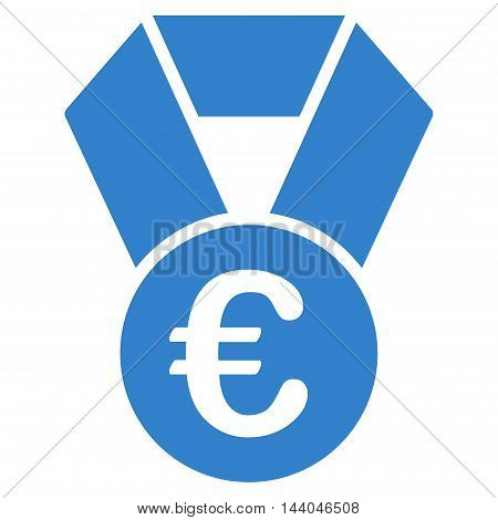 Euro Champion Medal icon. Glyph style is flat iconic symbol, cobalt color, white background.