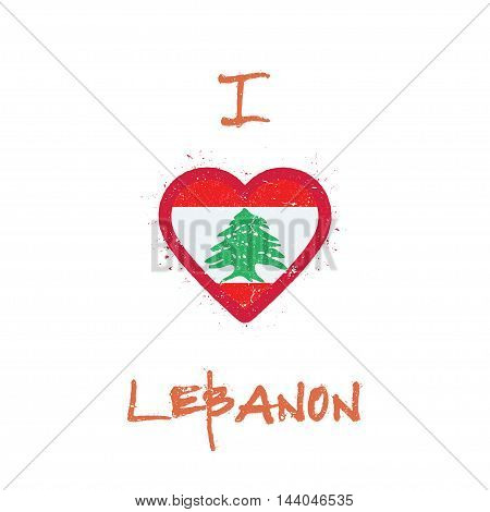 I Love Lebanon T-shirt Design. Lebanese Flag In The Shape Of Heart On White Background. Grunge Vecto