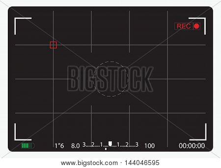 Black Camera focusing screen view finder vector illustration.