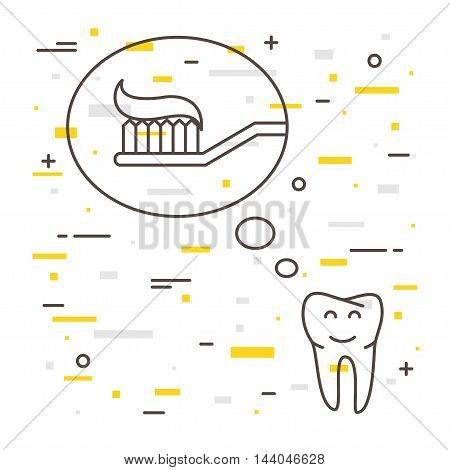 Tooth Thinks About Toothbrush With Toothpaste Linear Vector Illustration