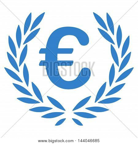 Euro Laurel Wreath icon. Glyph style is flat iconic symbol, cobalt color, white background.