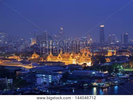 Grand Palace in twilight time at Bangkok Thailand