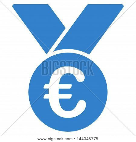 Euro Prize Medal icon. Glyph style is flat iconic symbol, cobalt color, white background.
