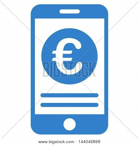 Euro Smartphone Banking icon. Glyph style is flat iconic symbol, cobalt color, white background.