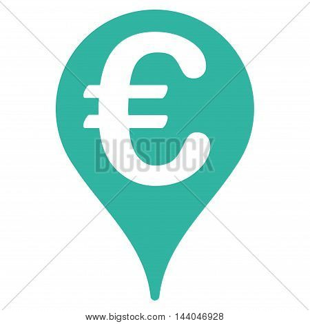 Euro Map Pointer icon. Glyph style is flat iconic symbol, cyan color, white background.