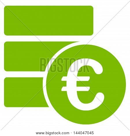 Euro Database icon. Glyph style is flat iconic symbol, eco green color, white background.