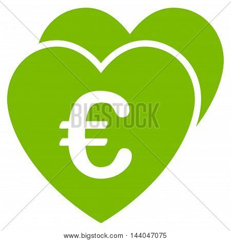 Euro Favorites Hearts icon. Glyph style is flat iconic symbol, eco green color, white background.
