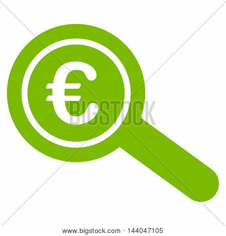 Euro Financial Audit icon. Glyph style is flat iconic symbol, eco green color, white background.